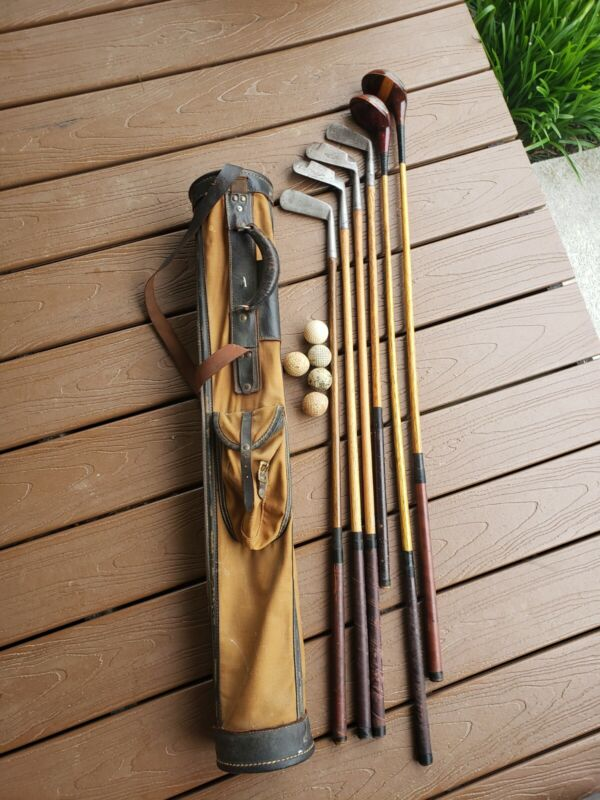 Antique hickory wood shaft golf Clubs and Canvas Bag, Man Cave