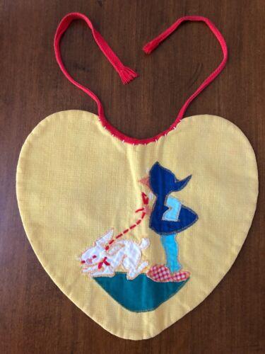Vintage Embroidered Handmade Baby Bib Heart Shape SWEET!