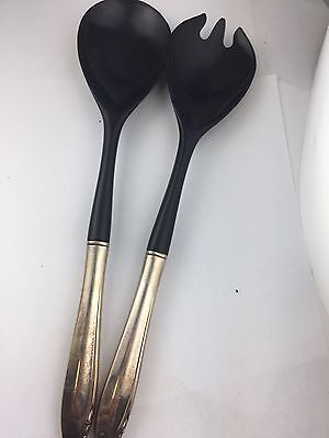 Sterling Silver Eloquence Salad Serving Set Black Plastic Spoon and Fork