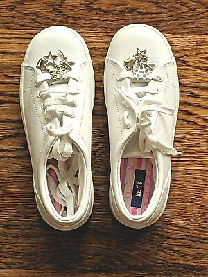 Flower Girls Shoes White (NEW Girls Keds Tennis Shoes White Trinkets Charms Star Fairy Heart Flower Size)