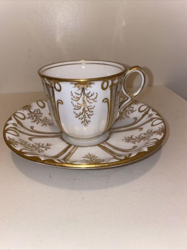 Stunning Gold Gilt Bone China Numbered Teacup & Saucer