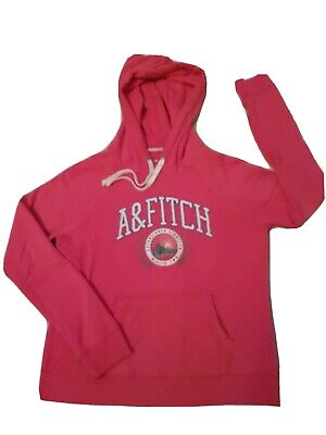 WOMENS LADIES ABERCROMBIE & FITCH HOODIE HOODYSIZE L LARGE PINK WITH WHITE LOGO
