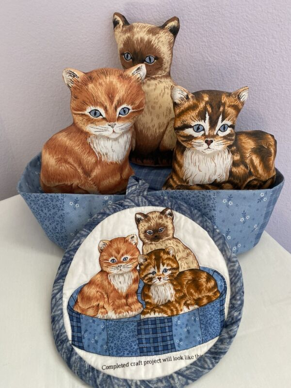 Vintage Fabric Cut Sew and Stuffed 3 Adorable Kittens in a Bed w/Pot holder