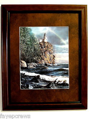 LIGHTHOUSE PICTURE ROCKY CLIFF OCEAN SEASCAPE MATTED FRAMED 11X14