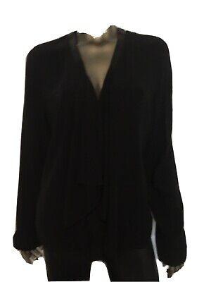 Eileen Fisher Drape Open Front Leather Trim Jacket Black Silk Cardigan Sz Large