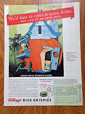 1939 Kellogg's Rice Krispies Ad Peter Peter Pumpkin Eater