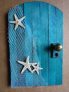 Wooden Fairy Door - Aqua Blue - Beach Style Starfish Prestons Liverpool Area Preview