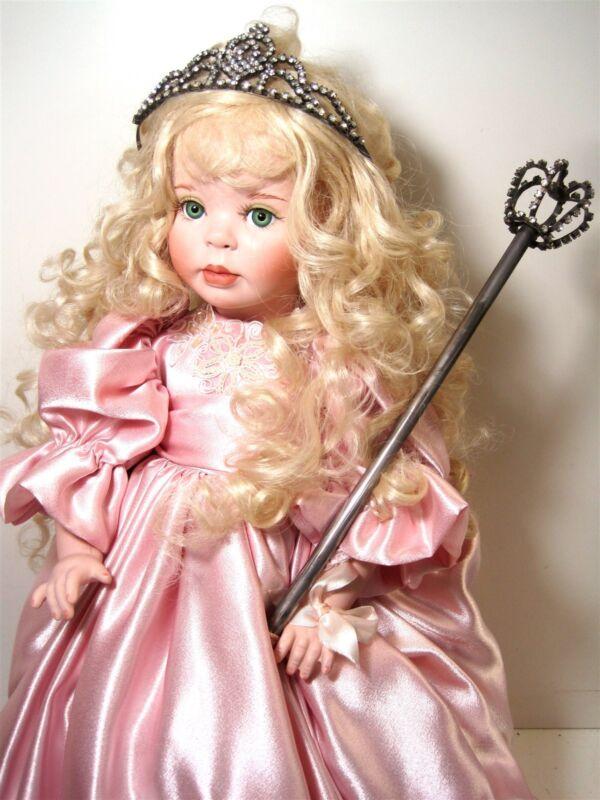"Doll Maker 24"" Porcelain Princess Linda Rick 53/500 3/00 Blonde Green Eyes IOB"