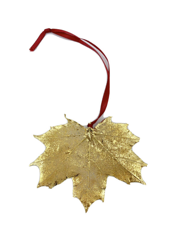 Maple Leaf Gold Pendant Ornament Accent w/FREE SHIPPING! Christmas Fall Nature
