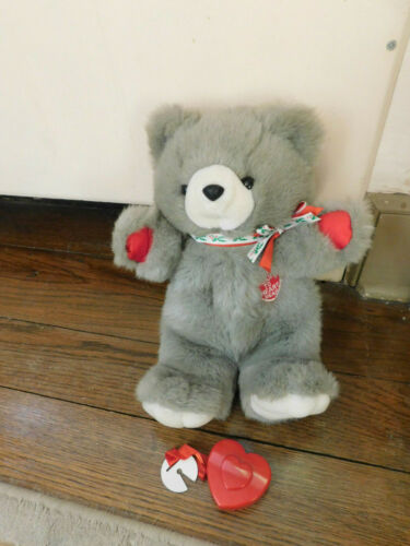 "Vtg RARE 1986 Chosun Heart To Heart Teddy Bear Plush 15"" Christmas w/ Heart EUC"