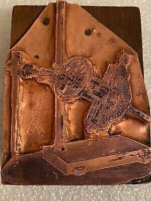 Antique Vintage Copper Wood Letterpress Printing Block Machine Tools Industrial