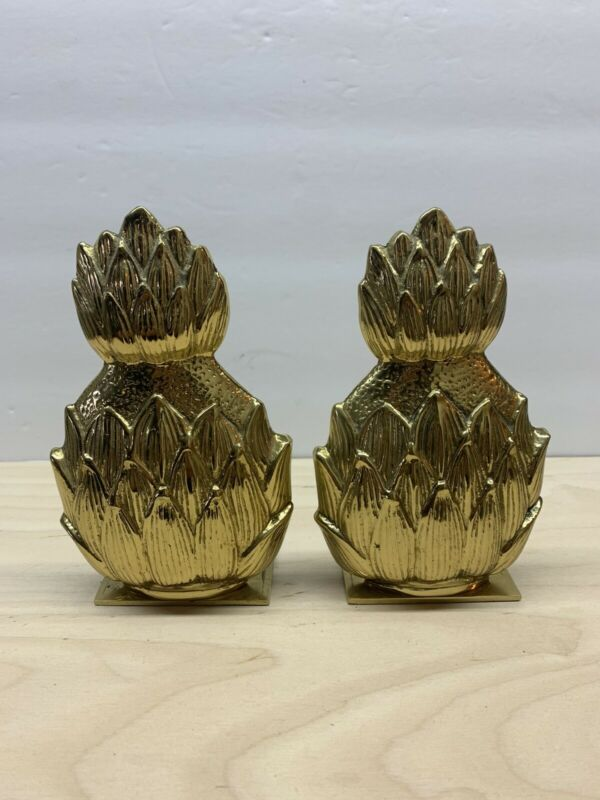 """Vintage Solid Brass Pineapple Bookends 6"""" Tall"""