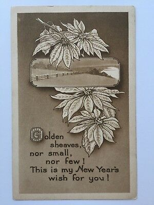 Postcard Happy New Years Black White Poinsettias Farmers Field Fence Old A5