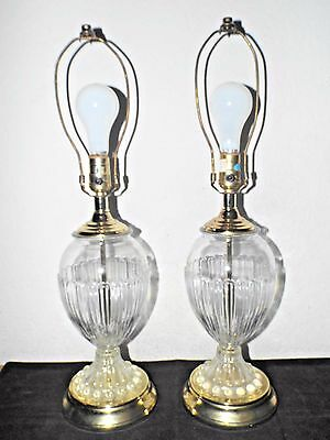LAMPS PAIR HOTEL STYLE 3-WAY PRESSED GLOBED GLASS WITH HOBNAIL BASE TABLE LAMPS