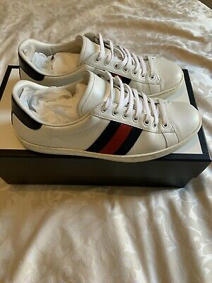 Gucci ace mens sneakers trainers white with blue red size uk 8 rrp £430