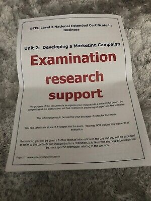 Btec Business Level 3 Developing A Marketing Campaign Exam Research Support for sale  Shipping to South Africa