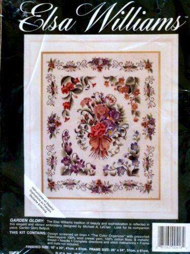 "Elsa Williams Crewel Embroidery Kit~ GARDEN GLORY~Michael A. LeClair~16""x20"""