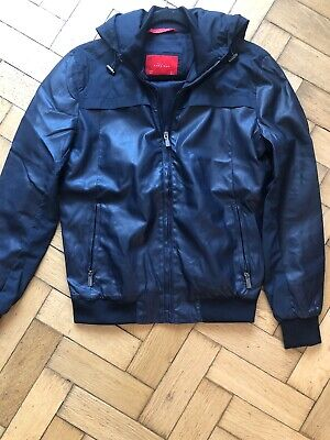 Mens Zara Faux Leather Navy Blue Bomber Jacket  With  Detachable Hood Size Small