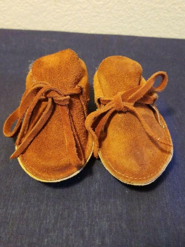 Vintage Handmade Moccasins Toddler/Child/Kids 2T Leather Ceremonial Native Brown