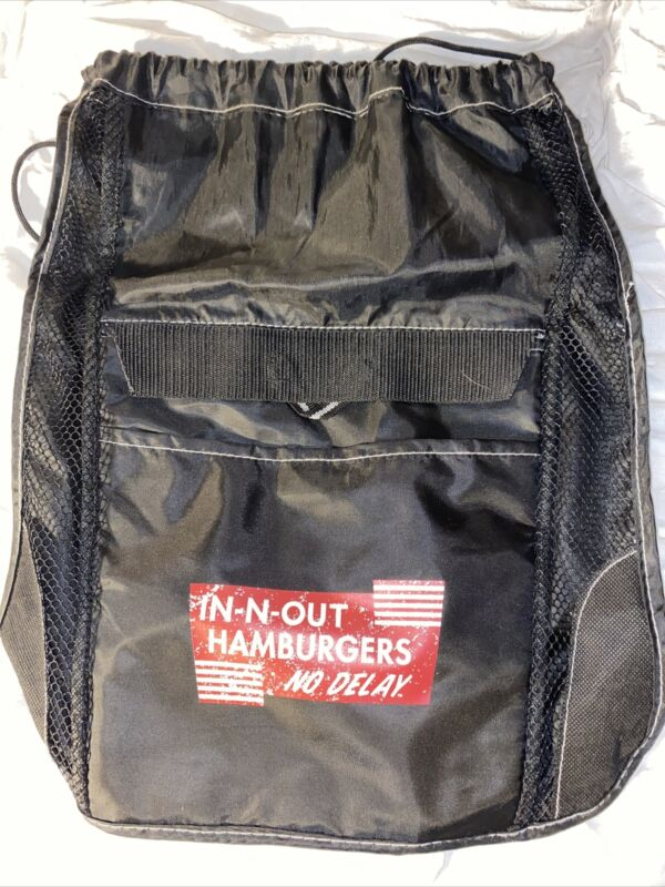 ❤️ New IN N OUT BURGER DRAWSTRING BACKPACK Cinch Bag ~ No Delay Insulated Pocket