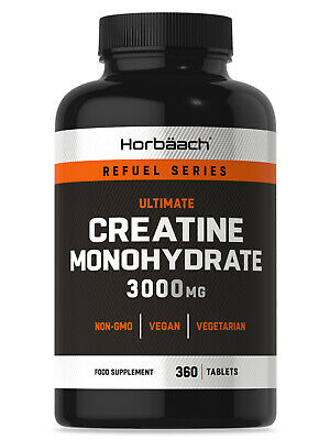 Creatine Monohydrate 3000mg | 360 Vegan Tablets | Muscle & Strength | Non-GMO