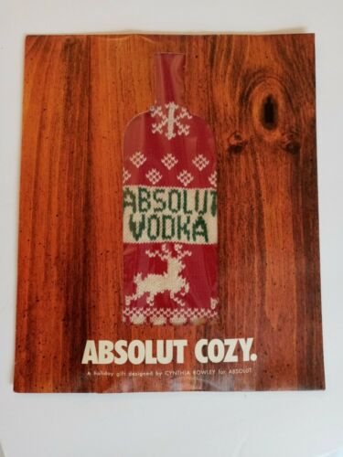 ABSOLUT VODKA COZY BOTTLE SWEATER by CYNTHIA ROWLEY  NEW IN PACKAGE