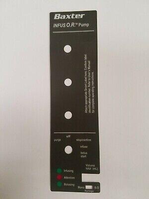 Baxter Infus Or Syringe Pump Front Case Label Overlay Part 6461695