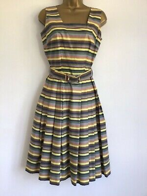 Striped cotton 1950s Vintage Sun Dress Taupe Yellow  Wallender small 8