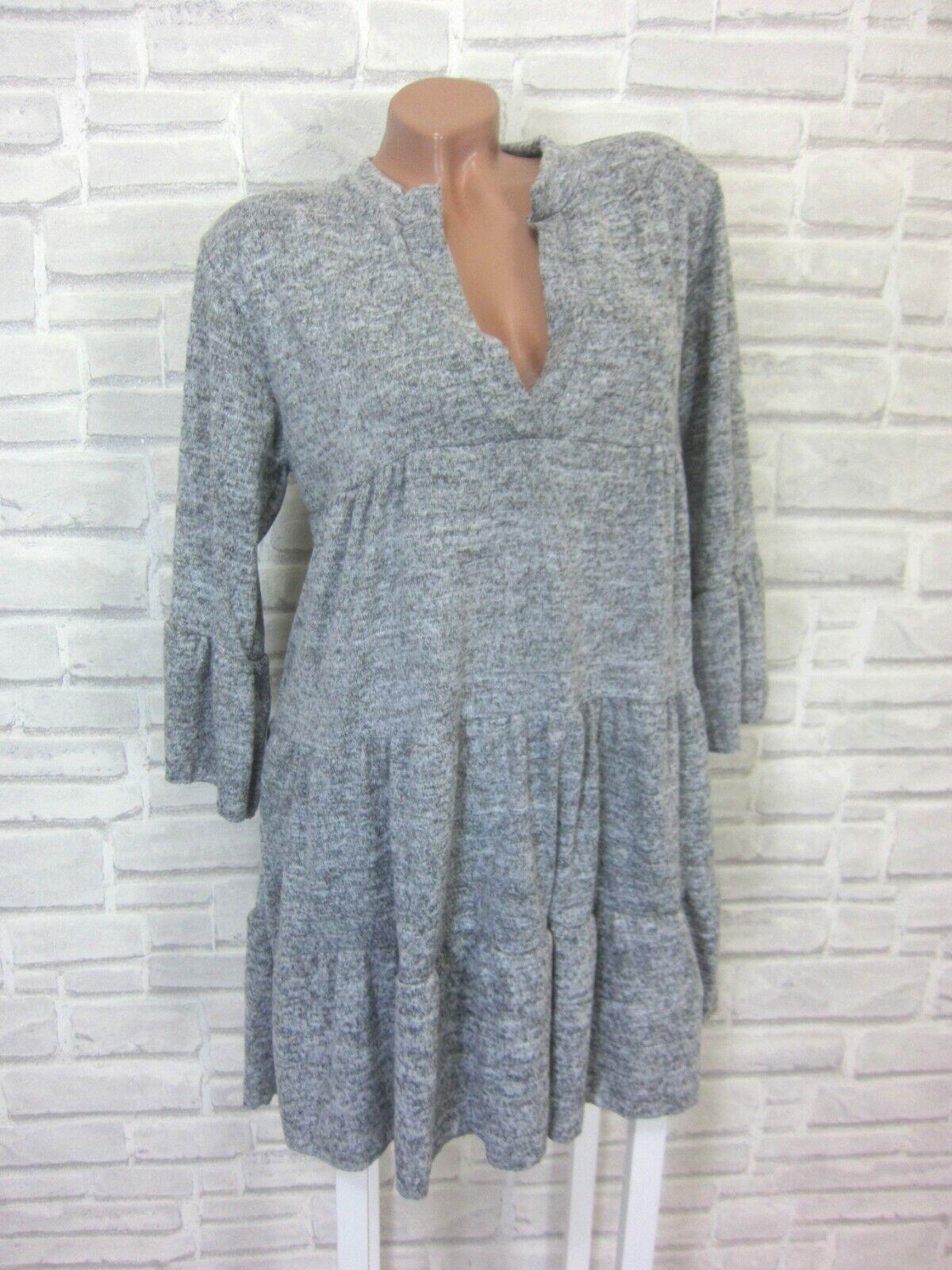 Italy Strickkleid Blogger Volant Feinstrick Kleid Tunika 38 40 42 Grau H E794