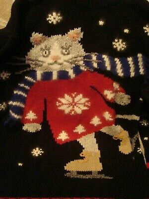 ugly christmas sweater party cat walmart commercial rare skating cat funny vtg ()