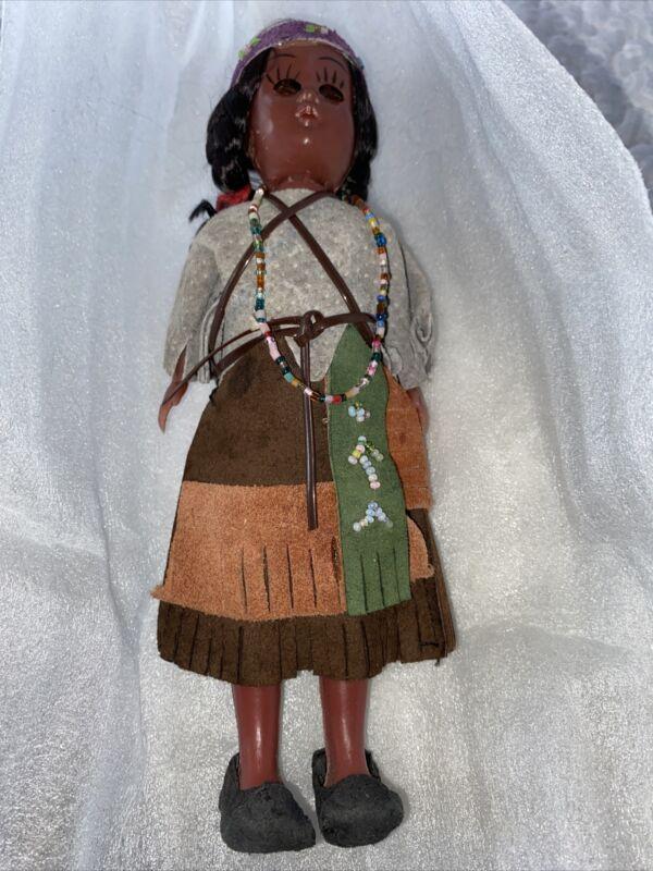 "Vintage Native American Indian Doll Mother Sleepy Eyes & Papoose Backpack 7.5"" H"