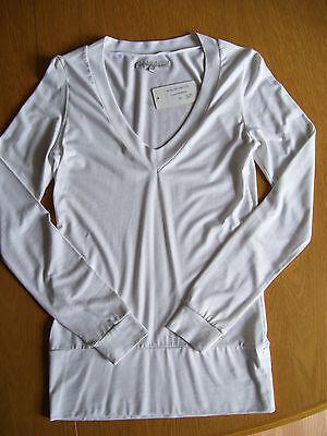 Blaumax V Neck Oberteil Shirt Longshirt Longsleeve langarm weiß Gr XS Neu