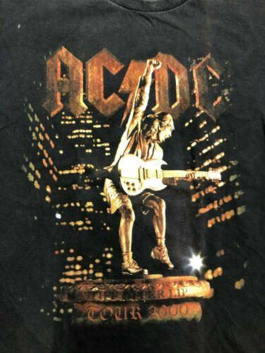 Vintage T Shirt - ACDC 2000 L Black RIP Tribute TOUR Stiff Upper Lip Red Orange