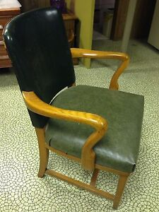 Hunter Green Leather Chair - Solid Wood