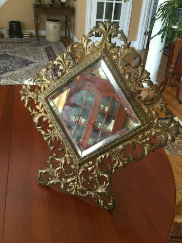 Antique Victorian Cast Iron Gilded Rococo Easel Back Mirror LARGE