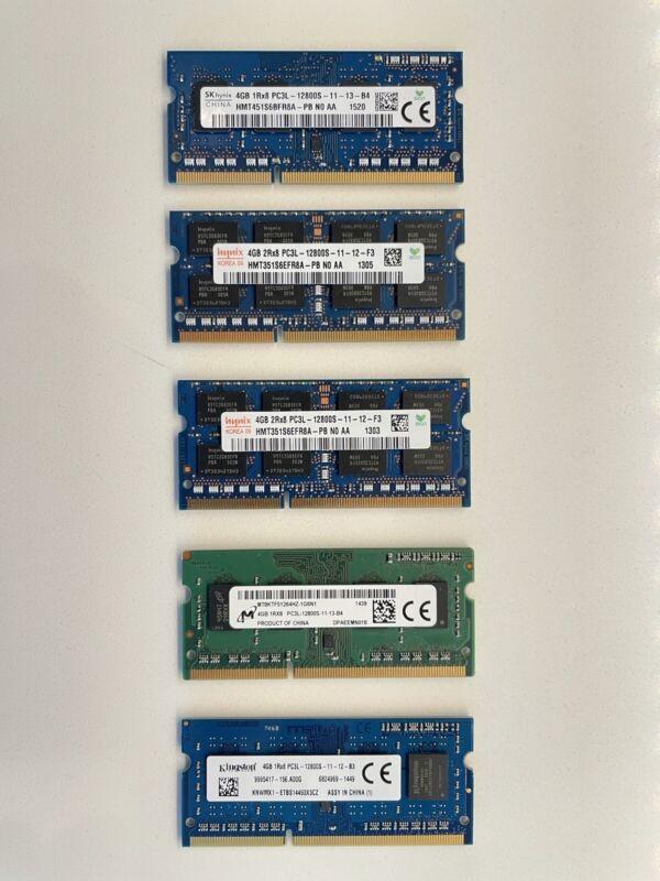 LOT of RANDOM DDR3L PC3 - LAPTOP MEMORY RAM 5x 4GB Sticks DELL LENOVO SODIMM RAM