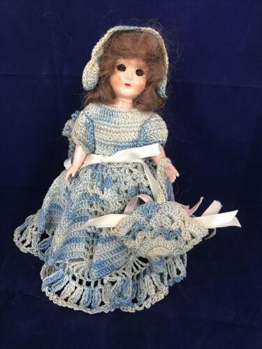 Vintage 7.5 Inch Doll In Beautiful Blue Crochet Dress - $19.99