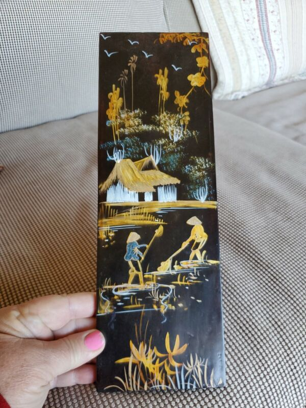 """Vintage Japanese Laquer Painting On Wood 4x12"""" Gold Black"""