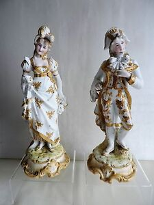 Pair of Antique French Bisque Porcelain Figurines Gold & White Hand Painted