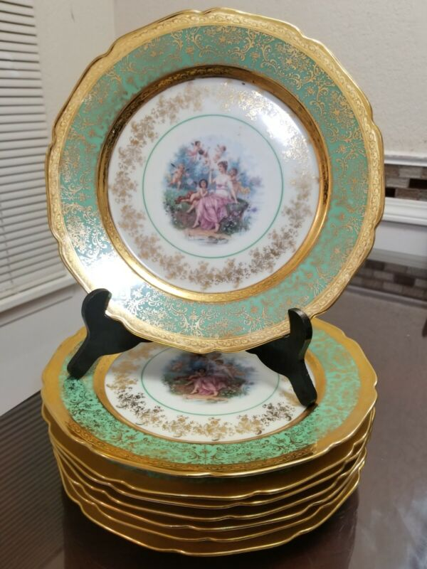 Victoria Czechoslovakia Bohemia China 24K Gold Green cabinet plate Set of 8