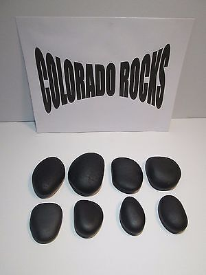 New Black Basalt Hot Massage Stones, Small 2-3 Inch Stones-8 PC Set