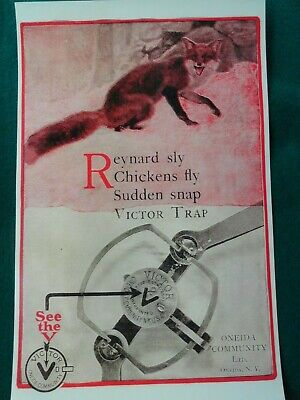 Victor Traps Advertising Poster, Trapping, Reynard Sly Fox, Oneida, N.Y.