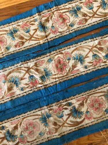 "Antique French silk Napoleon III printed border fabric yardage (144"" x 6"")"