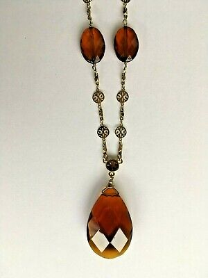 - Amber Color Glass Bead Tear Drop Necklace w Circles and Links Gold-tone Chain.