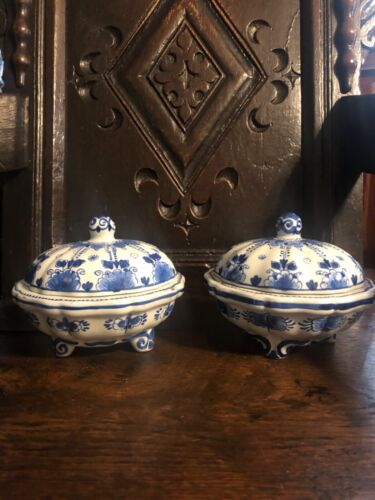 vintage Pair blue white delft Porceleyne fles covered dishes Holland Dutch fine