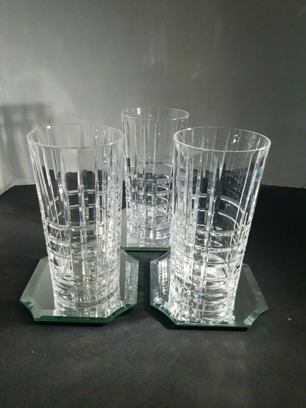 """Tiffany And Co Highball Glasses Old Plaid Pattern, 3- Approx  5 1/2 """" tall"""