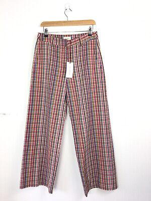 BNWT Sample ISA ARFEN Wide Leg Pants Cotton Multicheck Red Trousers W30 L30 UK10