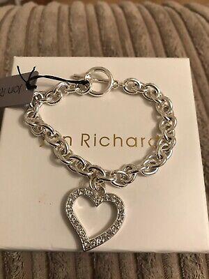 JON RICHARD SILVER PLATED T BAR OPEN DIAMANTE  HEART BRACELET, NEW IN BOX