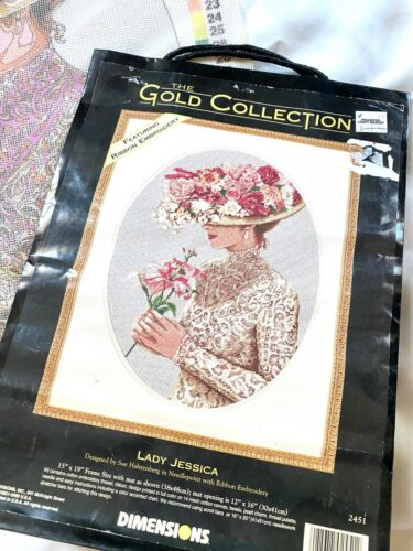 Dimensions Gold Collection Lady Jessica Needlepoint Kit Woman Floral Hat Lily