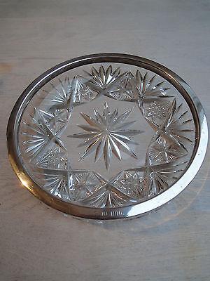 Kristallschale mit Silberrand (800er) mit Gravur von 1916